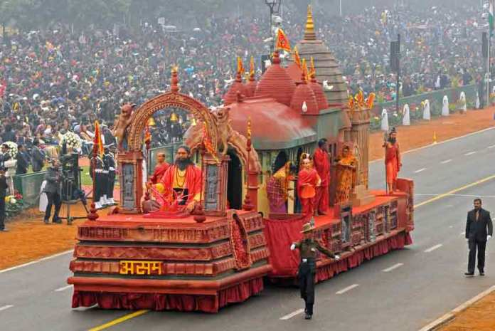 The tableau of Assam passes through the Rajpath, on the occasion of the 68th Republic Day Parade 2017.