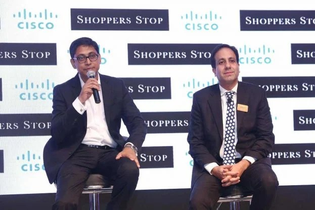 (L-R) Anil Shankar, Customer Care Associate & Vice President - IT, Shoppers Stop Ltd. and Malkani, President, Cisco India addressing the audiences during the Cisco India Summit 2017. (Photo/Cisco)