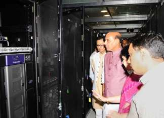 Union Home Minister, Rajnath Singh visiting the CCTNS National Data Centre facility, in New Delhi. The Minister of State for Home Affairs, Kiren Rijiju and the Director General, National Informatics Centre, Neeta Verma are also seen. (Photo/PIB)