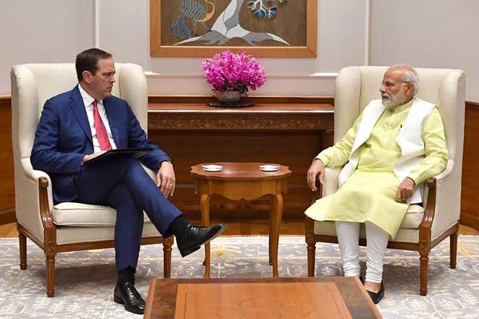 Cisco CEO and Chairman Chuck Robbins with Prime Minister Narendra Modi in New Delhi. (Photo: PIB)