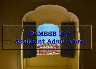 RSMSSB Lab Assistant Admit Card 2019, RSMSSB, Lab Assistant Admit Card, recruitment.rajasthan.gov.in