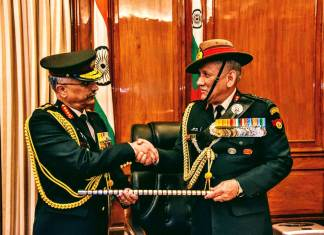 General Manoj Mukund Naravane takes over as the Chief of Army Staff from General Bipin Rawat. (Photo: Indian Army/Twitter)