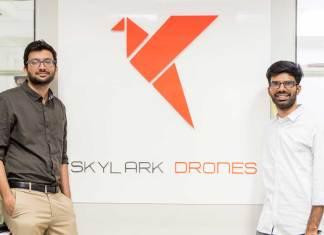 (L To R) Mrinal Pai, Mughilan Thiru Ramasamy, CEO & co-founder of Skylark Drones.