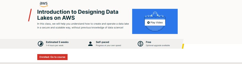 Introduction to Designing Data Lakes on AWS Week-1 MCQ answers