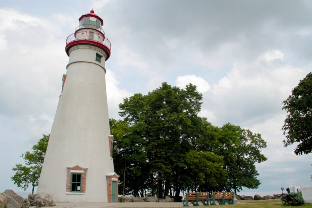 Marblehead Lighthouse is built on the shore of Lake Erie.
