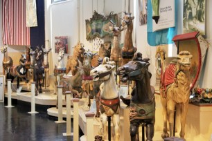 The Merry Go Round Museum features carved wooden animals that have been featured on carousels.