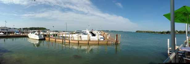 Boaters pull in for a meal at Dockside Cafe right on the water at Sandusky Bay.