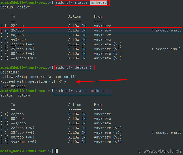 How to delete a UFW firewall rule on Linux