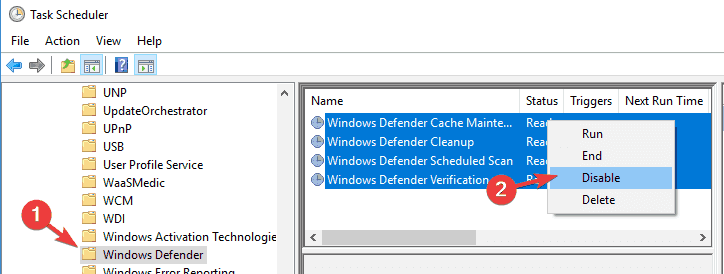 Antimalware Service Executable disable Windows 10