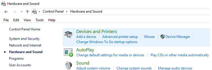 Click Devices and Printers under Hardware and Sound