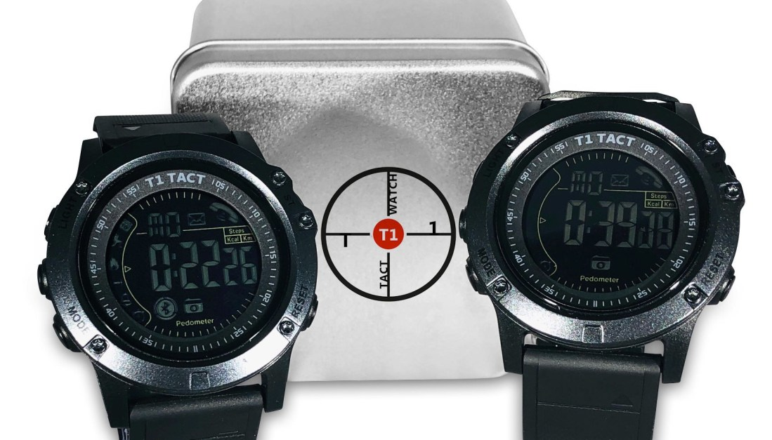 Two T1 Tact Watch Midnight Diamonds in front of Smartwatch Box