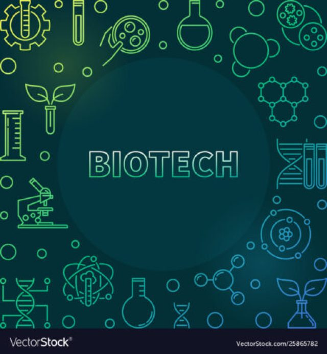 Vector Biotech colorful line illustration on dark background