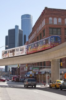 "The ""People Mover"" in Detroit's Greektown (image via Shutterstock)"