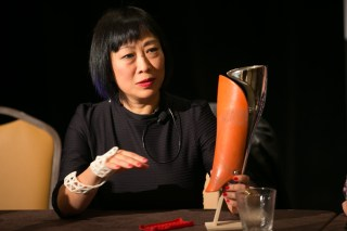 Geomagic CEO Ping Fu shows off a 3D-printed prosthetic device at Techonomy 2012