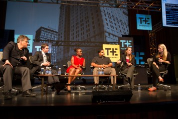 Author Mather, who speaks at TE15, was on this panel on tech industry diversity at TE Detroit 2014 . From left, author Andrew Keen, Brian Forde (now MIT Media Lab, then at the White House Office of Science and Technology Policy), SisterCode's Marlin Page, Google's Chris Genteel, Mather Unitive, and Indiegogo's Danae Ringelmann
