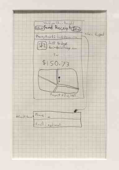 In August 2009, Dorsey imagines an on-screen receipt after a hypothetical purchase, geo-located, date-stamped, and offering the option to send via email.