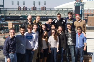 The Stik team, with Detroit's Comerica Park in the background