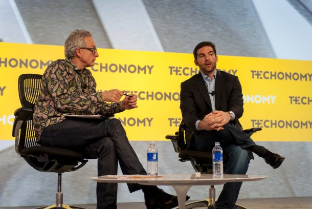 David Kirkpatrick (left) and Jeff Weiner onstage at Techonomy 2014.