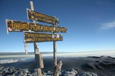 The peak of Mount Kilimanjaro in Tanzania (image via Shutterstock)