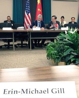 John Holdren and Wan Gang at the U.S.-China Innovation Dialogue. Photo by Erin-Michael Gill