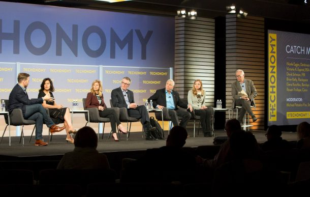 Cybersecurity session at Techonomy 2015– moderator Michael Patsalos-Fox far right. Others, from left: Rowan Trollope of Cisco, Victoria A. Espinel of the Business Software Alliance, Nicole Eagan of Darktrace, Special Agent David Johnson of the FB,I Brian Kelly of Rackspace, and Elena Kvochko of Barclays.