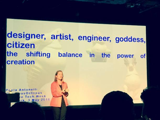 Paola Antonelli of MoMA speaking at Creative Tech Week in New York. We, too, think of her as a goddess. (photo Simone Ross)