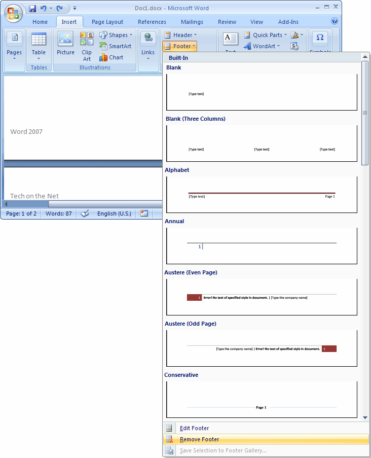 How To Remove Header In Word : remove, header, 2007:, Delete, Footer