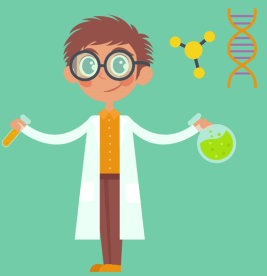 Scientist with Lab Equipment and DNA