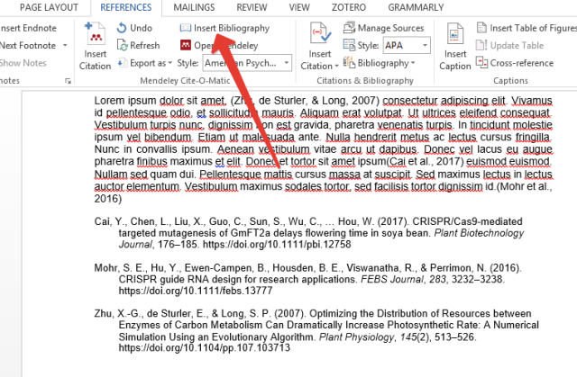 Insert Bibliography using Mendeley in Word