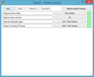 Hotkeys in ShareX