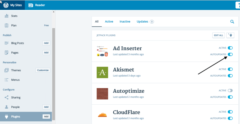 automatic plugin updates in WordPress Calypso