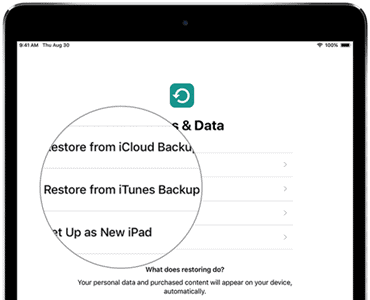 Restore iPad Backup from iTunes