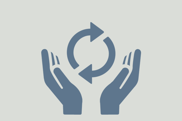 icon of hands holding recycling arrows
