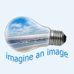 "A lightbulb with a seashore inside and the words ""imagine an image"""