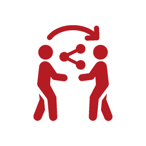 two people facing each other with a triangle sharing symbol in the middle of them