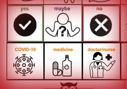 a partial aac board with 6 icons - covid19, medicine, doctor/nurse, yes, maybe, no