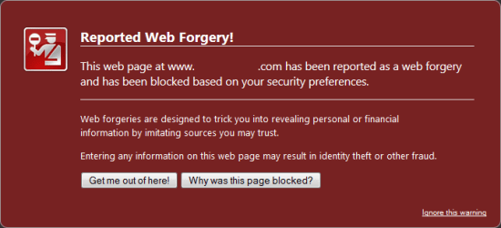Firefox Reported Web Forgery