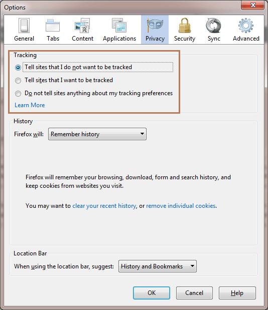 Firefox Tracking Options