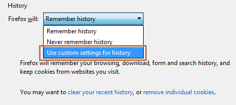Firefox Use Custom Settings for History