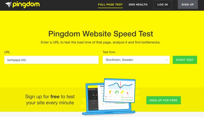 pingdom網站https://tools.pingdom.com