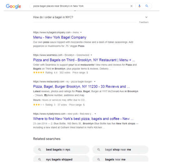 An example long-tail keyword search on Google