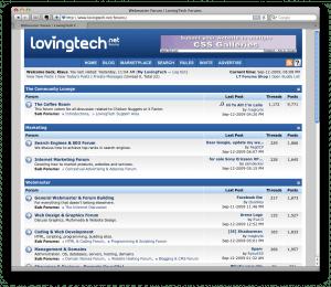 LovingTech Webmaster Forum screenshot