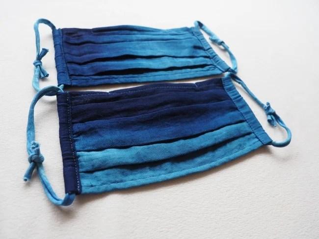 藍染め超薄型ガーゼ 納涼プリーツマスク(ノーズワイヤー入り)