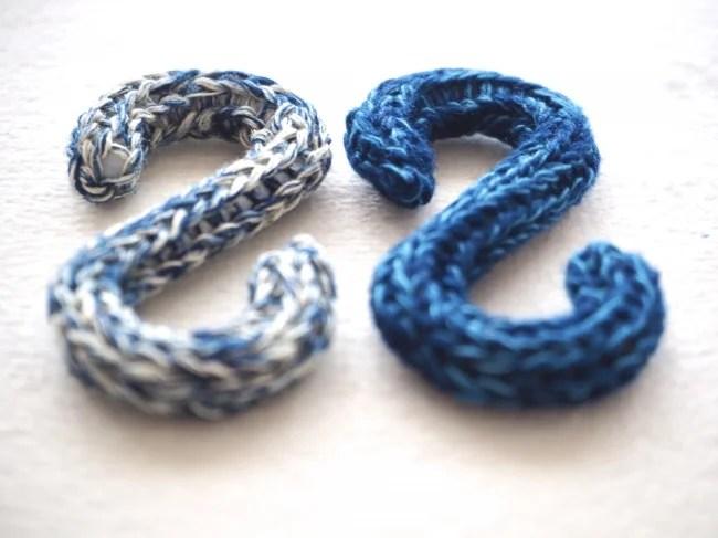 <同時販売 :「藍染めCrochet S字フック 6個セット」>