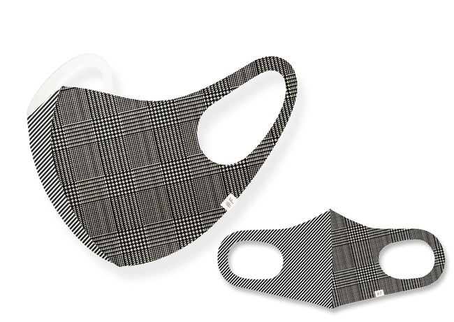 日本製、秋デザインチェックマスク ジオメトリック×グレンチェック