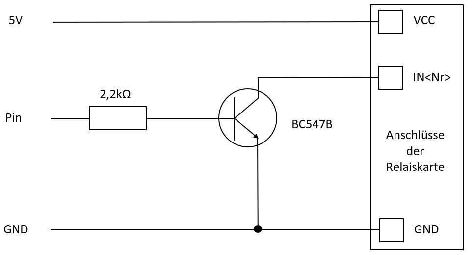 Schaltplan Relaiskarte mit Transistor