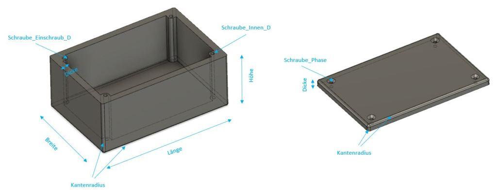 Parameter-Übersicht des Beispiel-Gehäuses