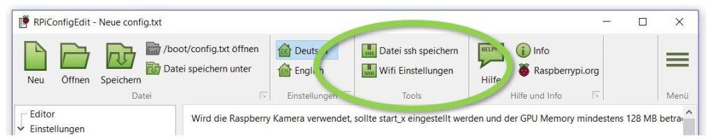 ssh Datei speichern und WLAN Empfang vorbereiten