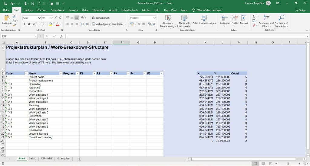 Excel Spreadsheet: Start WBS (work breakdown structure)