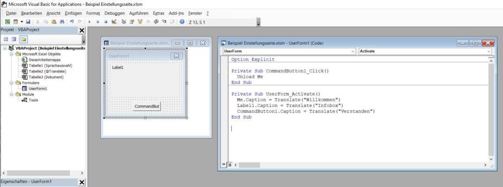 Translate im UserForm und VBA-Quellcode